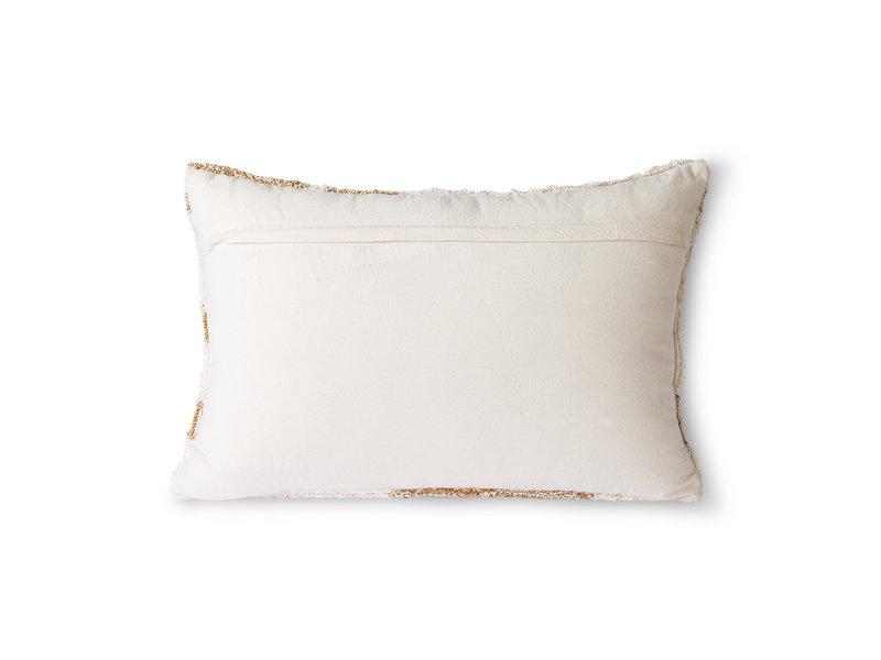 HK-Living Fluffy kussen -wit/beige 35x55 cm