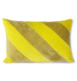 HK-Living Gestreept velvet kussen -geel/groen 40x60cm