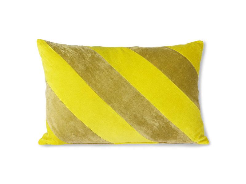 HK-Living Randig sammet kudde-gul / grön 40x60cm