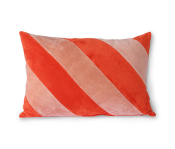 HK-Living Stribet fløjlpude - rød / lyserød 40x60 cm