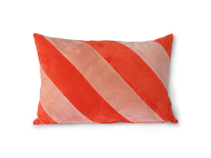 HK-Living Randig sammetsdyna - röd / rosa 40x60cm