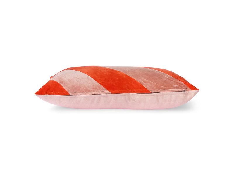 HK-Living Gestreept velvet kussen -rood/roze 40x60cm
