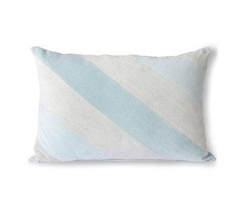 HK-Living Coussin en velours rayé - bleu glacier 40x60cm