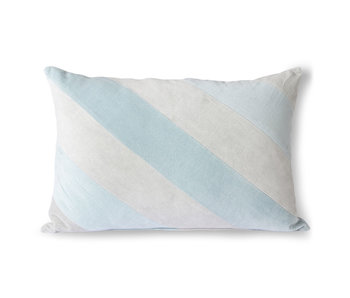 HK-Living Stribet fløjlpude - isblå 40x60cm