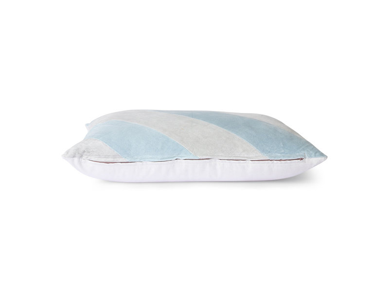 HK-Living Gestreept velvet kussen -ijsblauw 40x60cm