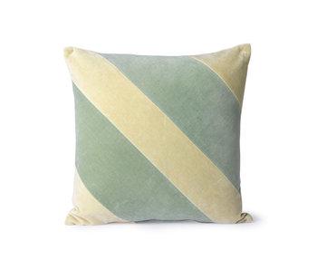 HK-Living Striped velvet cushion - mint / green 45x45cm