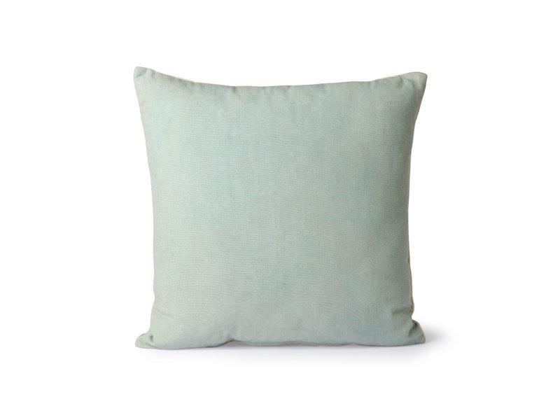HK-Living Gestreept velvet kussen - mint/groen 45x45cm