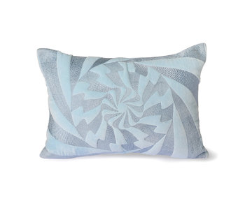 HK-Living Graphic embroidered cushion - ice blue 35x50cm