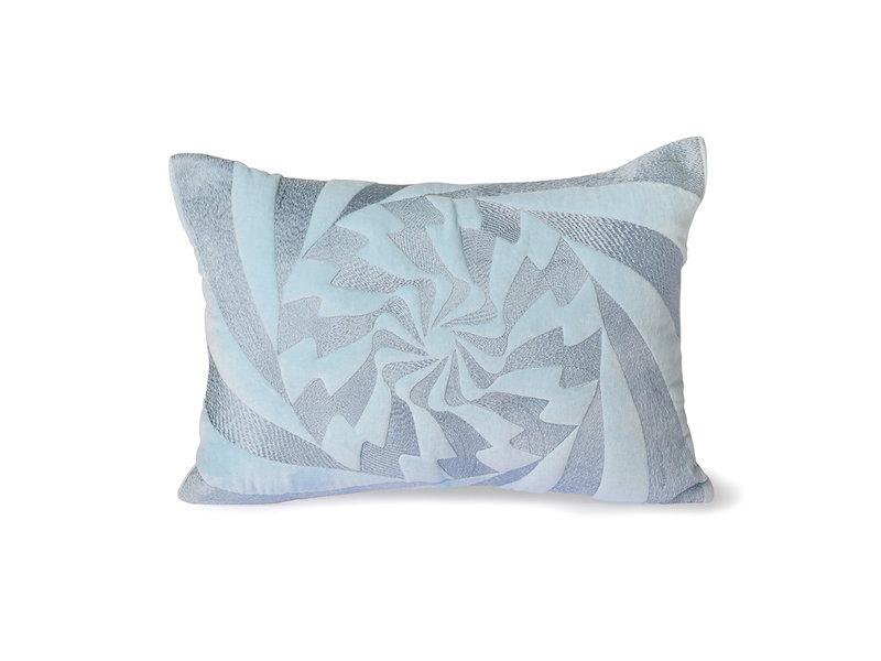 HK-Living Graphic embroidered kussen -ijsblauw 35x50cm