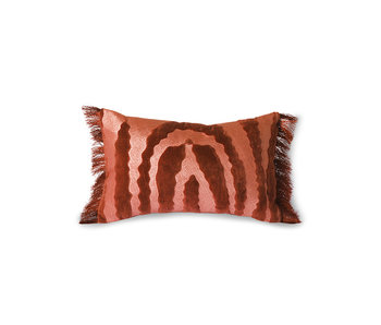 HK-Living Cojín de tigre de terciopelo con flecos - rojo / burdeos 25x40cm