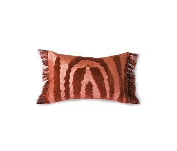 HK-Living Coussin tigre en velours à franges - rouge / bordeaux 25x40cm