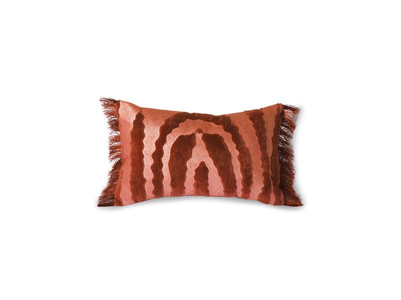 HK-Living Fringed velvet tiger kussen - rood/bordeaux 25x40cm