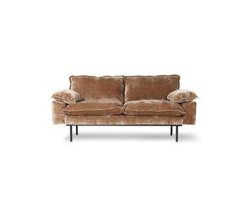 HK-Living Retro soffa 2-sits corduroy sammet - åldern guld