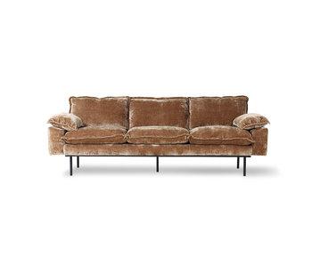 HK-Living Retro-Sofa 3-Sitzer Cord Samt - gealtert Gold