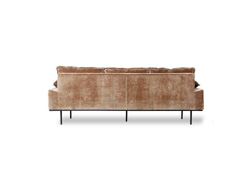 HK-Living Retro soffa 3-sits corduroy sammet - åldern guld