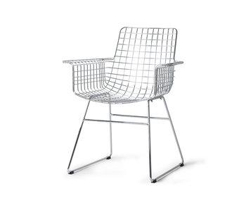 HK-Living Chaise en fil de métal avec accoudoir - chrome
