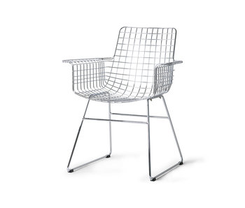 HK-Living Metaltrådstol med armlæn - krom