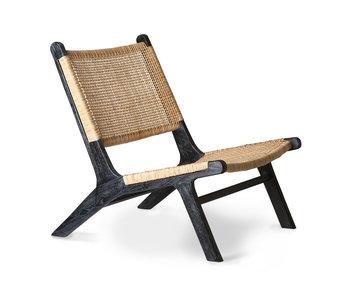 HK-Living Chaise longue en sangle - noir / naturel