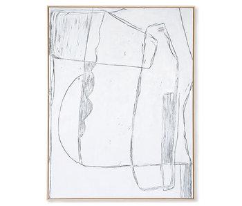 HK-Living Cuadro pintura brutalismo - blanco 120x160cm