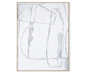 HK-Living Frame brutalism painting - white 120x160cm