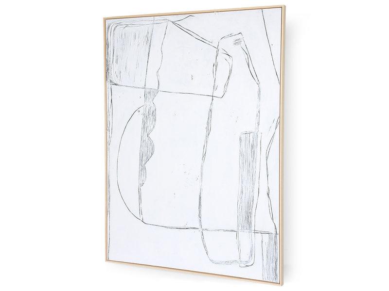 HK-Living Frame brutalism målning - vit 120x160cm