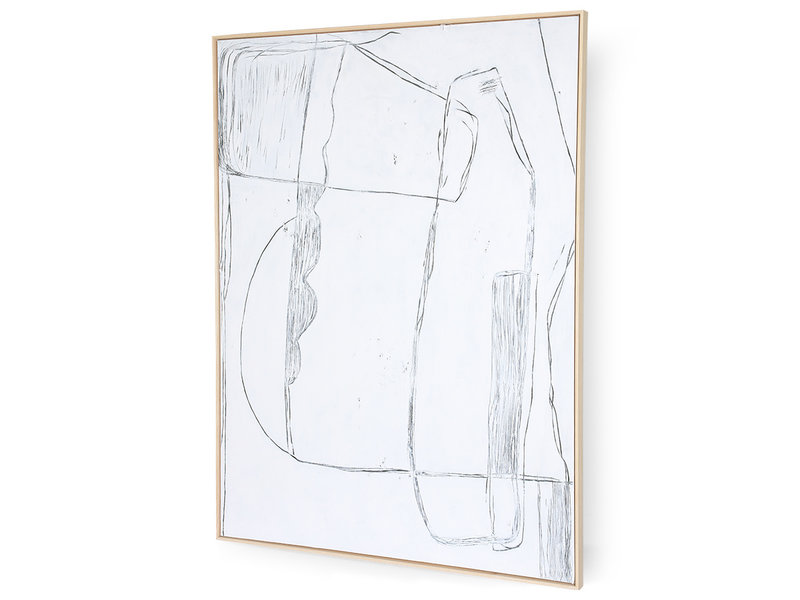 HK-Living Tableau brutalisme cadre - blanc 120x160cm