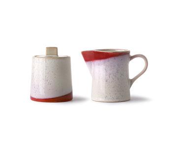 HK-Living Jarra de leche y azucarera de cerámica de los años 70 - escarcha