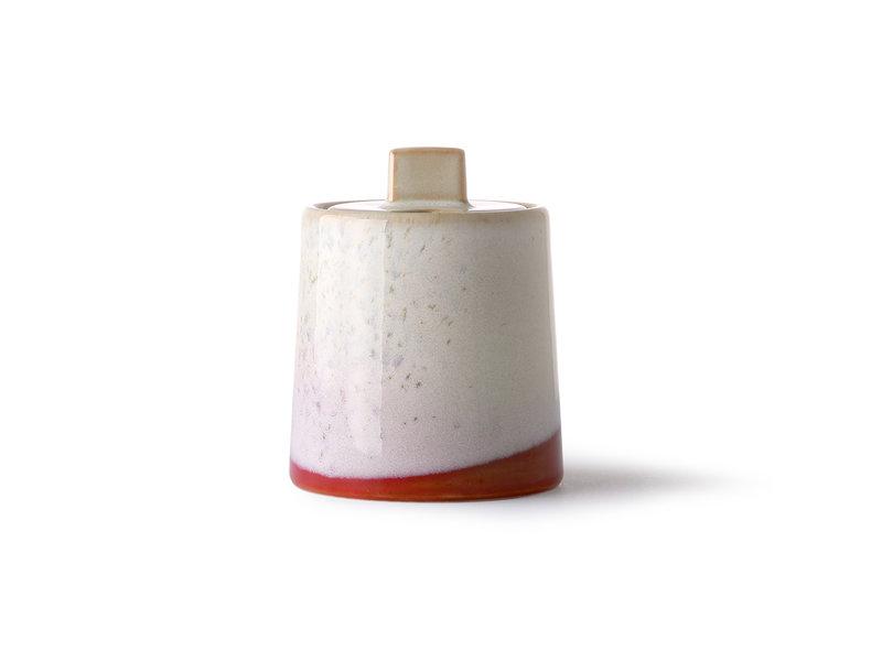 HK-Living Keramieken 70's melkkan en suikerpot - frost