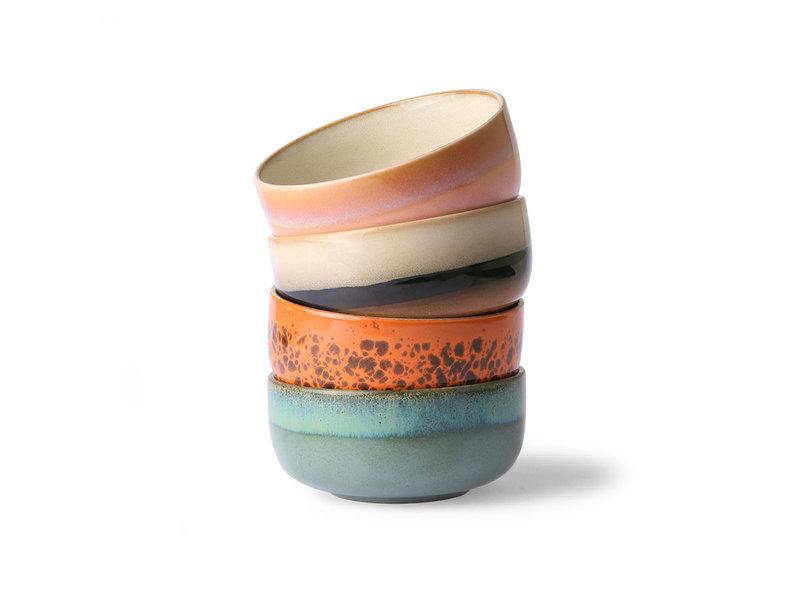 HK-Living Set de tazón de postre de cerámica de los 70