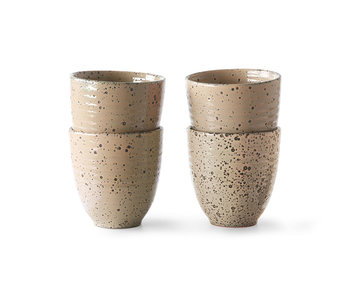 HK-Living Gradient Tazas de cerámica de color topo - juego de 4 piezas