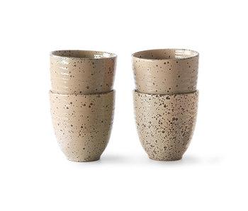 HK-Living Tazze in ceramica sfumata taupe - set di 4 pezzi