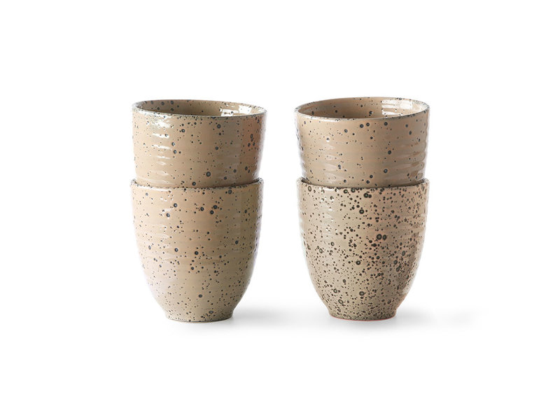 HK-Living Farbverlauf Keramikbecher taupe - 4er Set