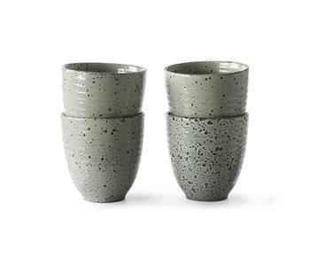 HK-Living Farbverlauf Keramikbecher grün - 4er Set