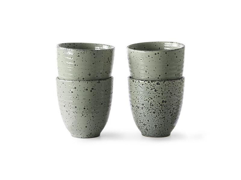 HK-Living Gradient Tazas de cerámica verde - juego de 4 piezas