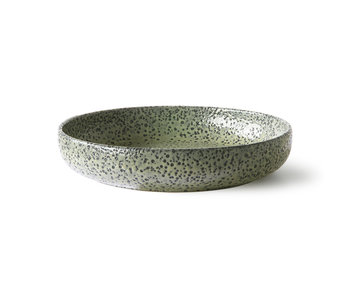 HK-Living Lutande keramiska djupa plattor grön - uppsättning av 2 delar