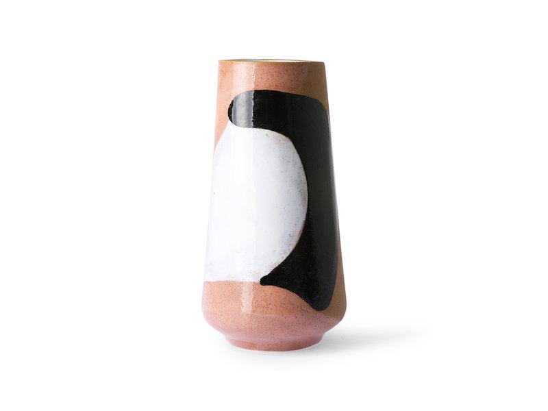 HK-Living Florero de cerámica pintado a mano