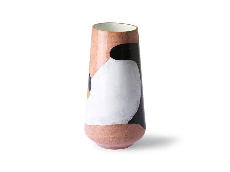 HK-Living Vase en céramique peint à la main