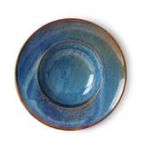 HK-Living Home chef plato de pasta de cerámica azul rústico