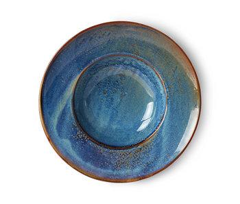 HK-Living Home Chef Keramik Pasta Platte rustikal blau