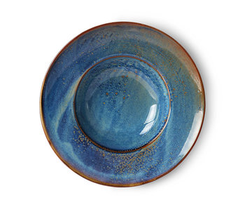 HK-Living Rustikblått för keramisk pastaplatta för hemkock