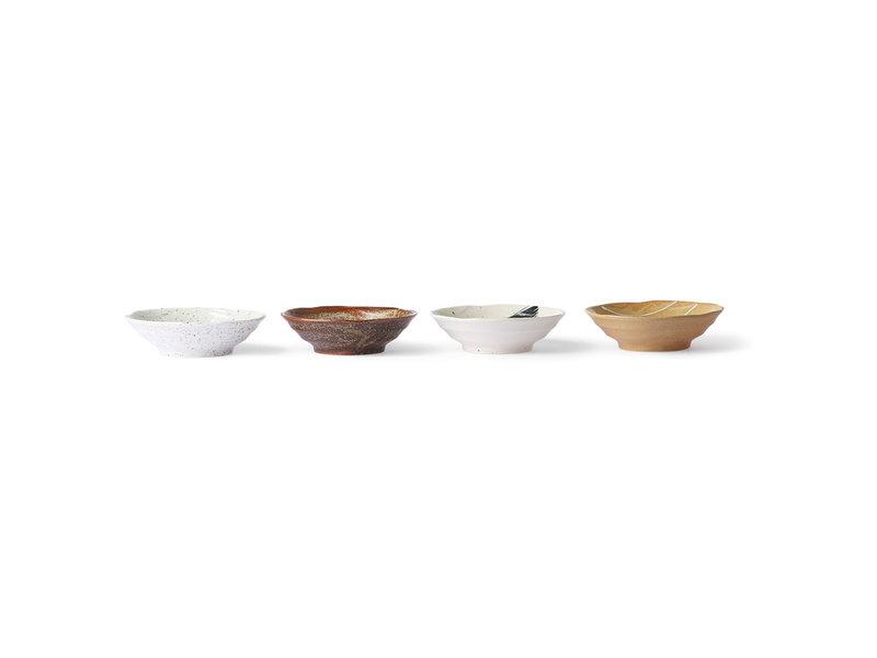 HK-Living Kyoto keramiska japanska skålar - uppsättning av 4 stycken