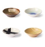 HK-Living Kyoto keramiek Japanse schalen - set van 4 stuks