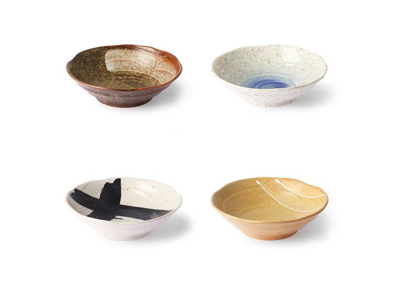 HK-Living Cuencos japoneses de cerámica de Kyoto - juego de 4 piezas
