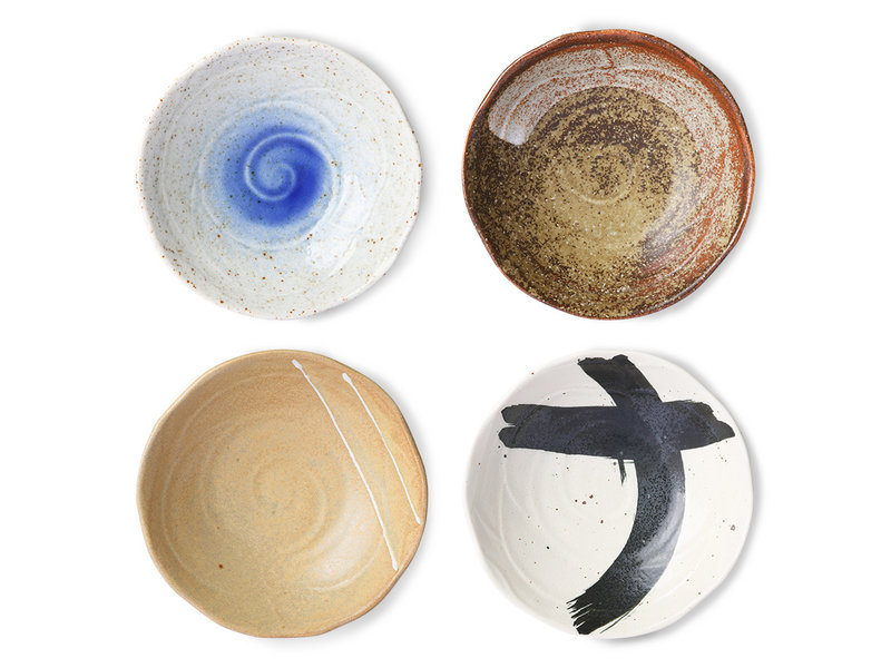 HK-Living Bols japonais en céramique Kyoto - lot de 4 pièces