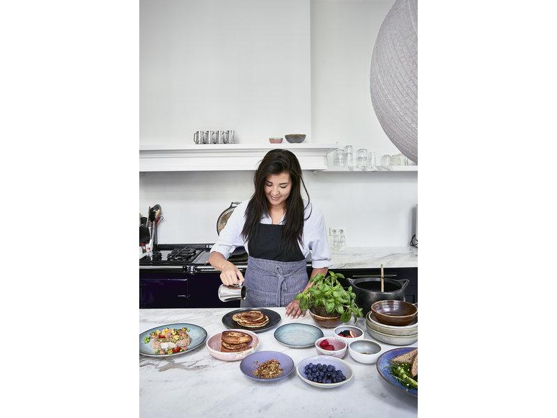 HK-Living Home chef keramiek diner borden grijs/groen - set van 6 stuks