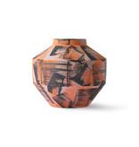 HK-Living Keramieken hand geborstelde vaas - oranje/zwart