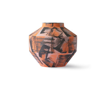 HK-Living Ceramic hand brushed vase - orange / black