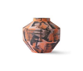 HK-Living Handgebürstete Keramikvase - orange / schwarz