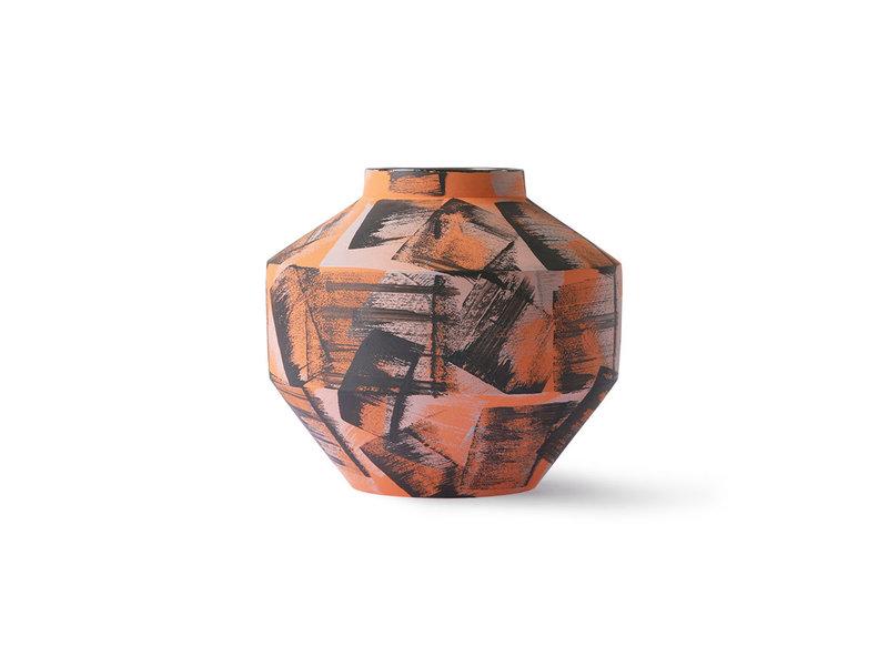 HK-Living Vase en céramique brossé à la main - orange / noir