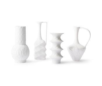 HK-Living Mat hvide porcelænsvaser - sæt med 4 stykker